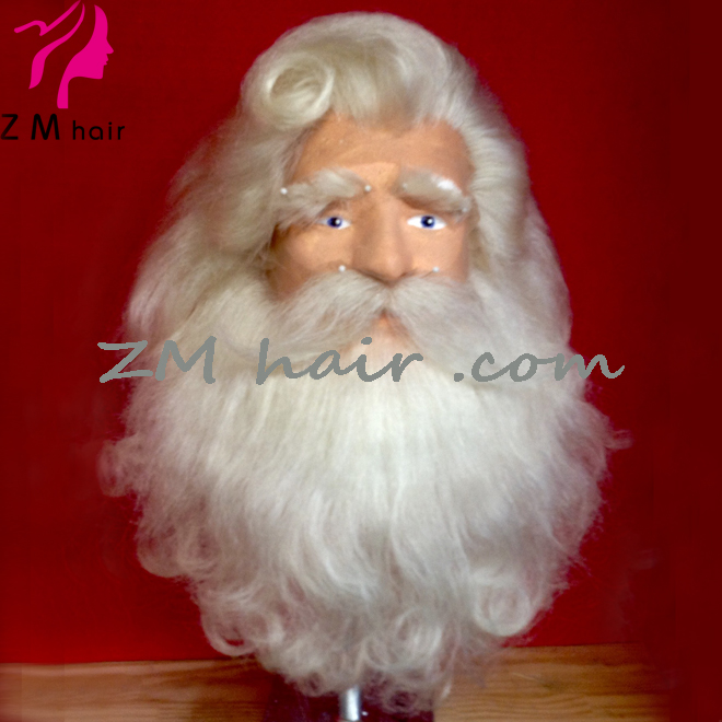 Santa Beard and Wig Set Santa Claus Beard and Wig Santa Wig and Beard Set White