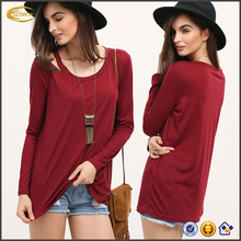 Ecoach fashion casual women red plain Open Shoulder Scoop Neck fancy girl long sleeve t shirt