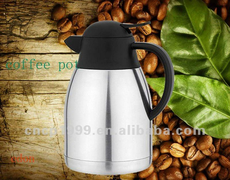 Stainless Steel Brass Silver Color Vacuum Coffee Pot Heat Preservation Water Flask Thermal Insulation Pot 1.5L 2.0L