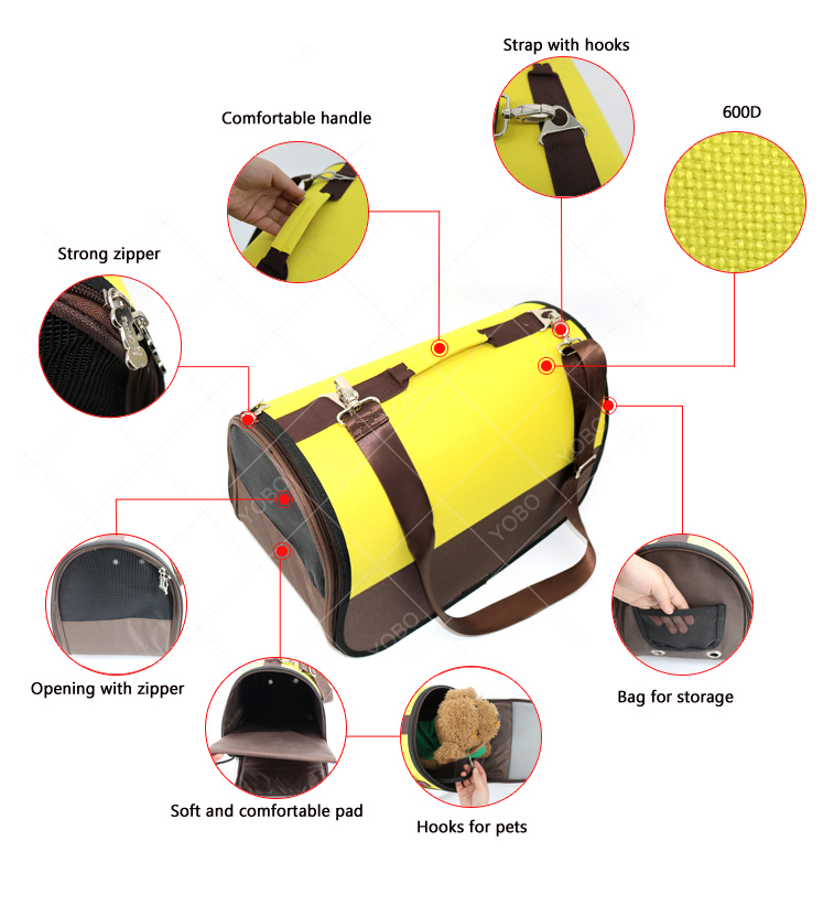 Airline approved pet carriers waterproof oxford Soft sided carry bag small pet carriers for small dogs