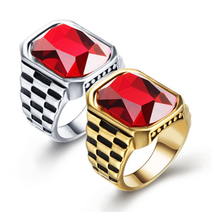 Personality Trend Ring Red Gemstone Inlaid Titanium steel Watch Band Wedding Ring