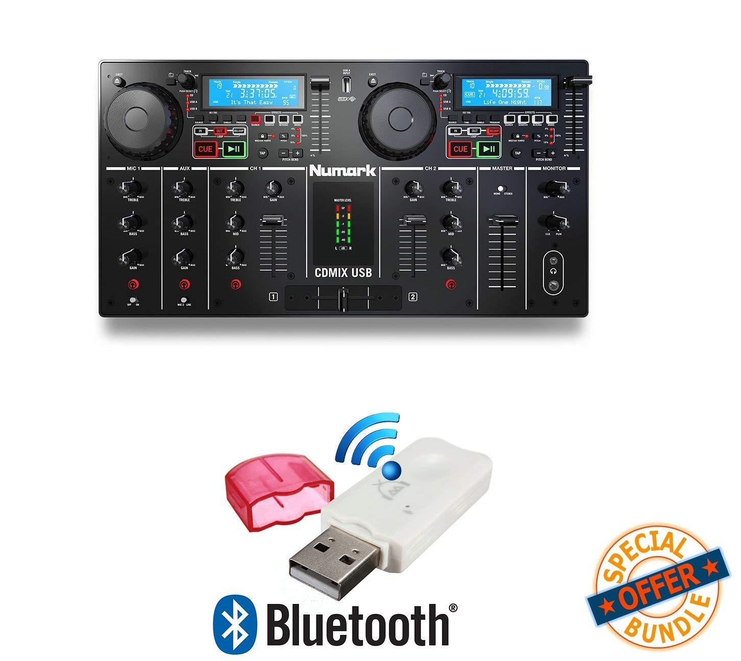 Numark CDMIX USB Self‑Contained DJ System W/ Free USB Bluetooth Music Streaming Wireless Receiver W/ Free USB Bluetooth Music Streaming Wireless Receiver