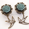 Glamsquared - Swallow Tattoo Inspired Dangle tunnel Plugs body piercing jewelry