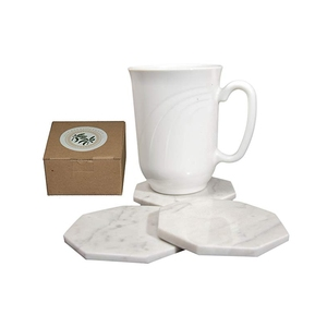 Cool Coaster 4 Pieces Set White Carrara Marble Coasters with Bamboo Holder Cup Mat for for Bar and Home Use