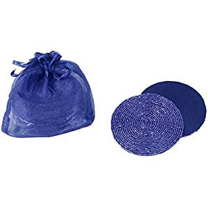 Navy Blue Beaded Round Satin Backed Coasters, Set of 6 in Organza Gift Bag