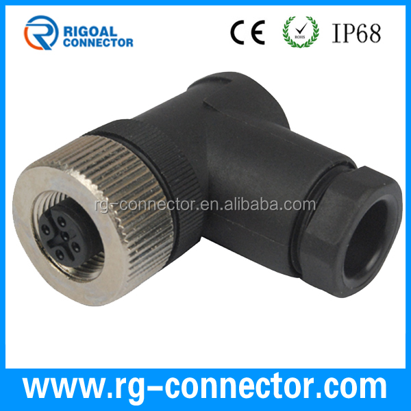 M12 4pins female 90 degree assembly connector