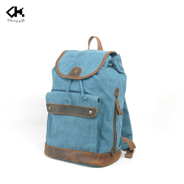 Casual stylish brand canvas backpack for school