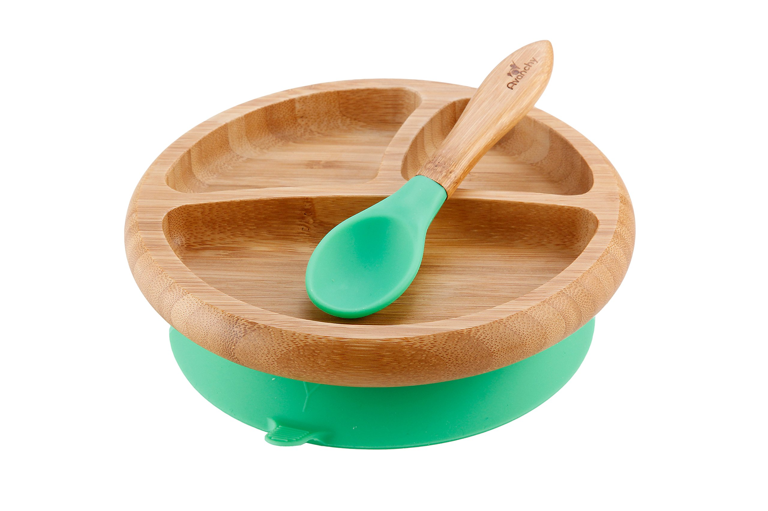 Avanchy Baby Feeding Bamboo Spill Proof Stay Put Suction Divided Plate + Baby Spoon - Great Baby Gift Set, Green