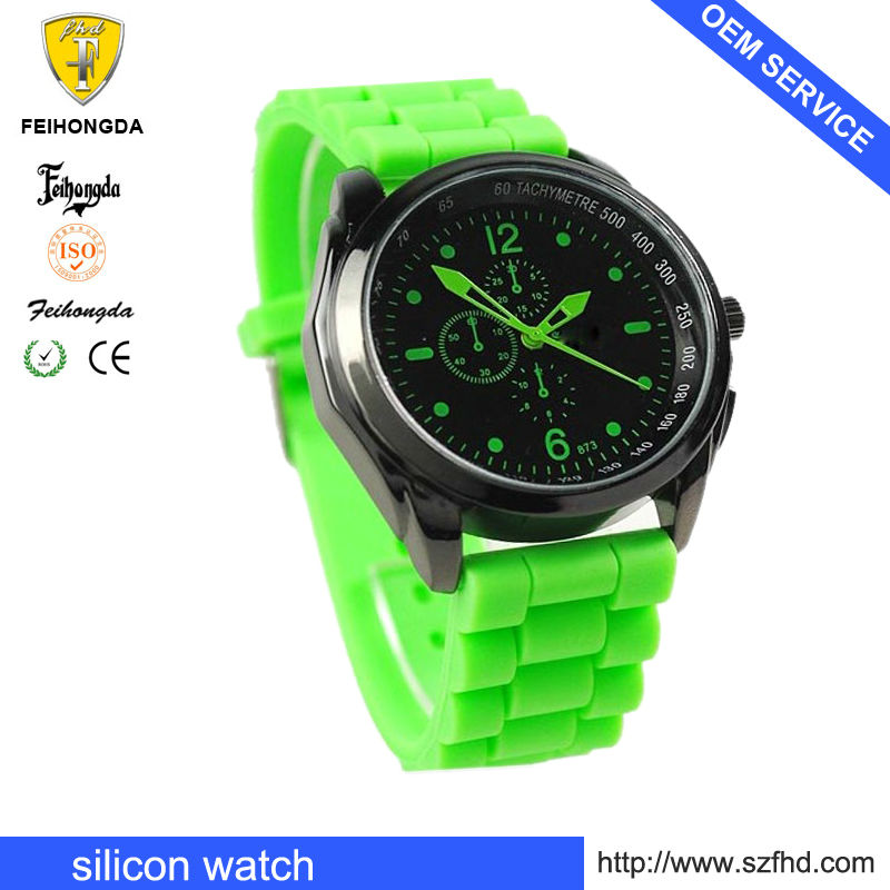 silicon color big case mans wrist quartz watch FS00016