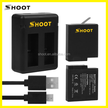 SHOOT Hero 5 Dual Double Charger+Battery 1220mAh Battery & Charger Kits for GoPro Hero 5