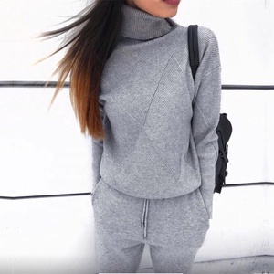 B23443A Women Turtleneck sweater suit Hot selling sweater knitted trousers suit