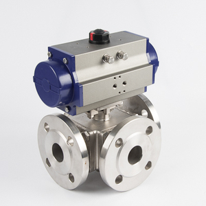 DN25 DN50 DN65 DN 100 floating type stainless steel 3way flanged pneumatic electric actuated ball valve