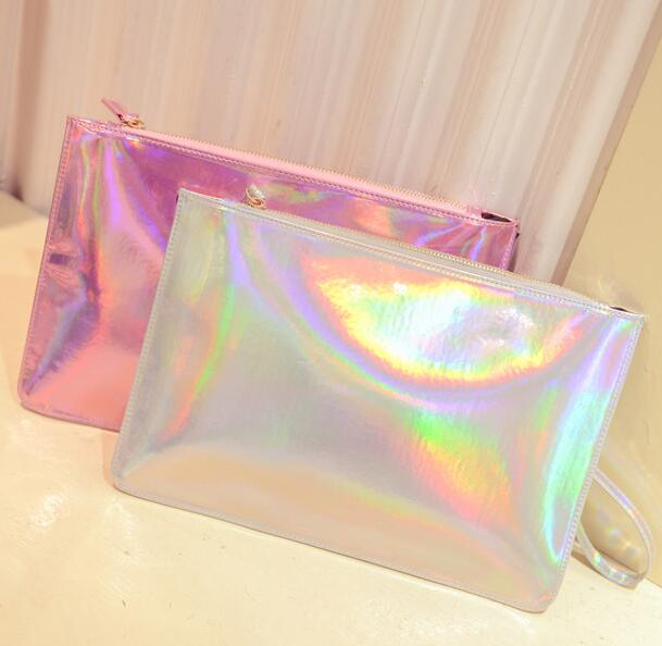 fashion candy envelope iridescent PU laser holographic makeup cosmetic clutch bag