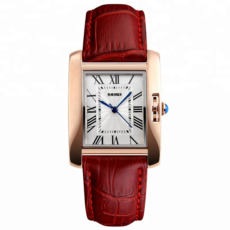 FD Womens Business Leisure Rectangular Genuine Leather Strap Wrist Watches