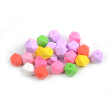 Colorful Hexagonal beads FDA Silicone baby teething necklace, baby teething beads for for jewelry