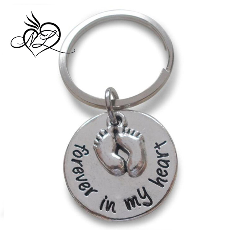 Forever in My Heart Keychain with Baby Feet Charm, New Baby Keychain