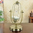 Rotating Brass Antique Metal 30 Minute Hourglass Sand Timer For Desktop
