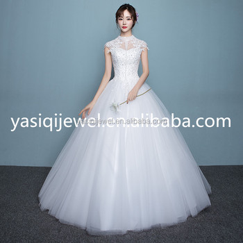 Custom-made Short Sleeve High-necked New Design Pure White Wedding ...