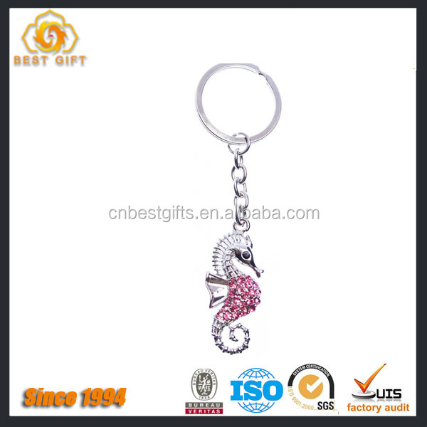 Factory Product sea horse rhinestone metal keychain