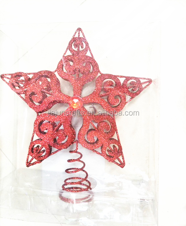 25cm new design metal christmas tree ornament top star