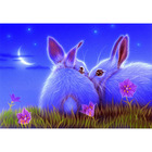 Needlework Diamond Painting Two Rabbits in the Grass Diamond Embroidery All Drill Rhinestone Mosaic Picture