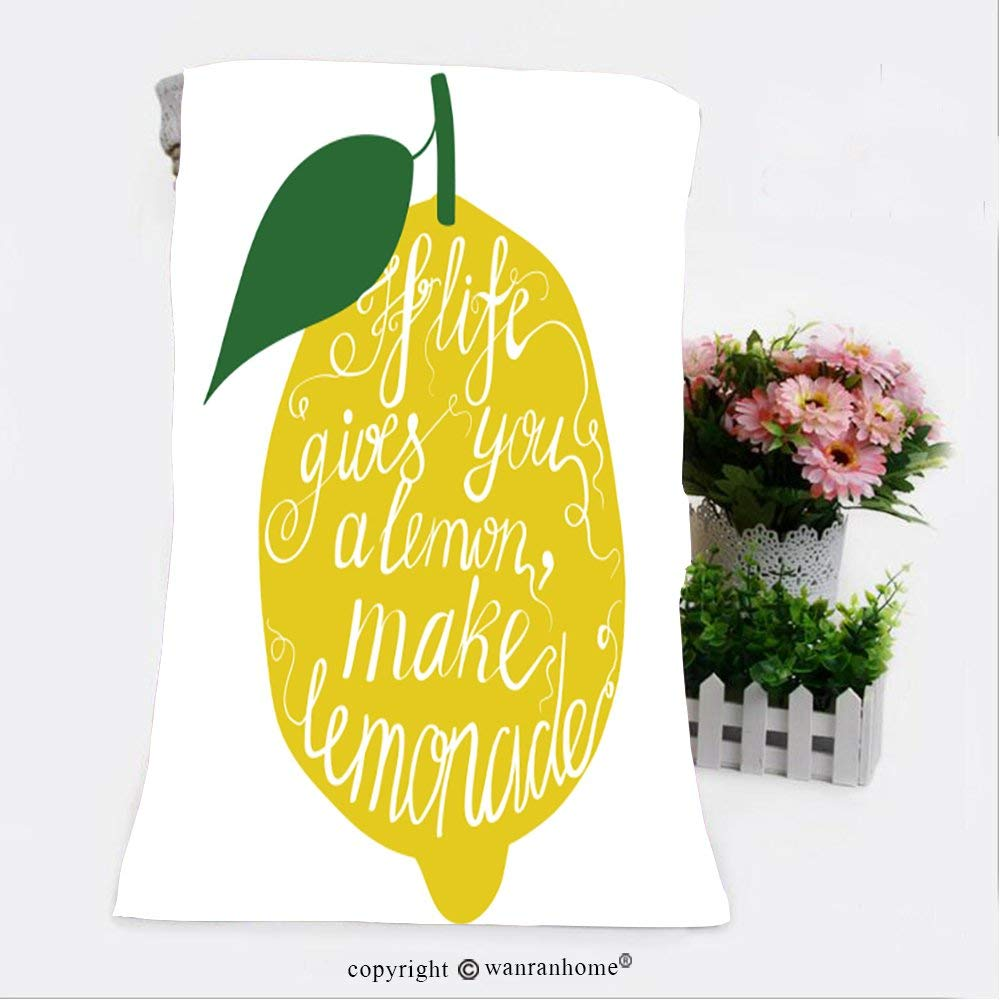 """VROSELV Cotton Microfiber Bathroom Bath Towel-hand drawn typography poster motivation quote about life gives you lemon make lemonade isolated Custom pattern of household products(11.8""""x35.4"""")"""
