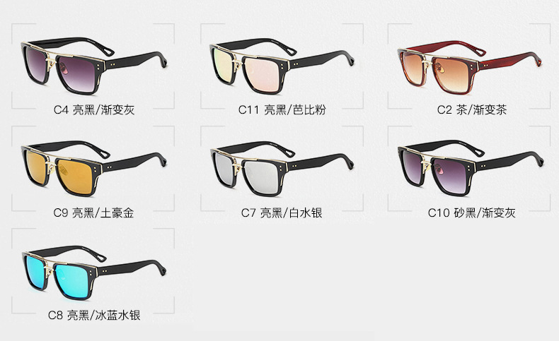 Gradient lens square sunglasses unisex PC frame luxury shades sunglasses 2019 Oversized frame Steampunk Branded Eyewear