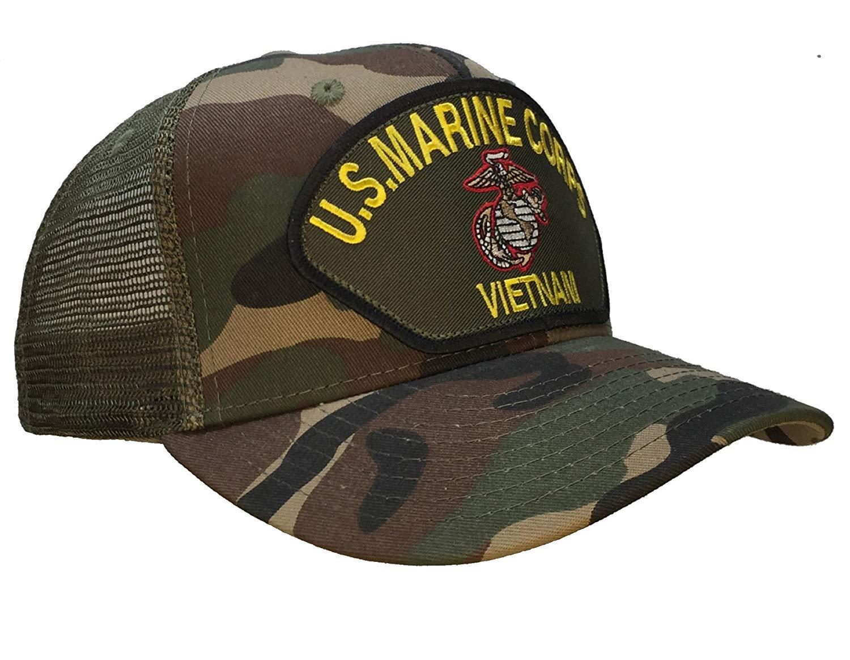 970bb166ba3 Get Quotations · VIETNAM WAR VETERAN Marine Corps Camo Trucker Hat