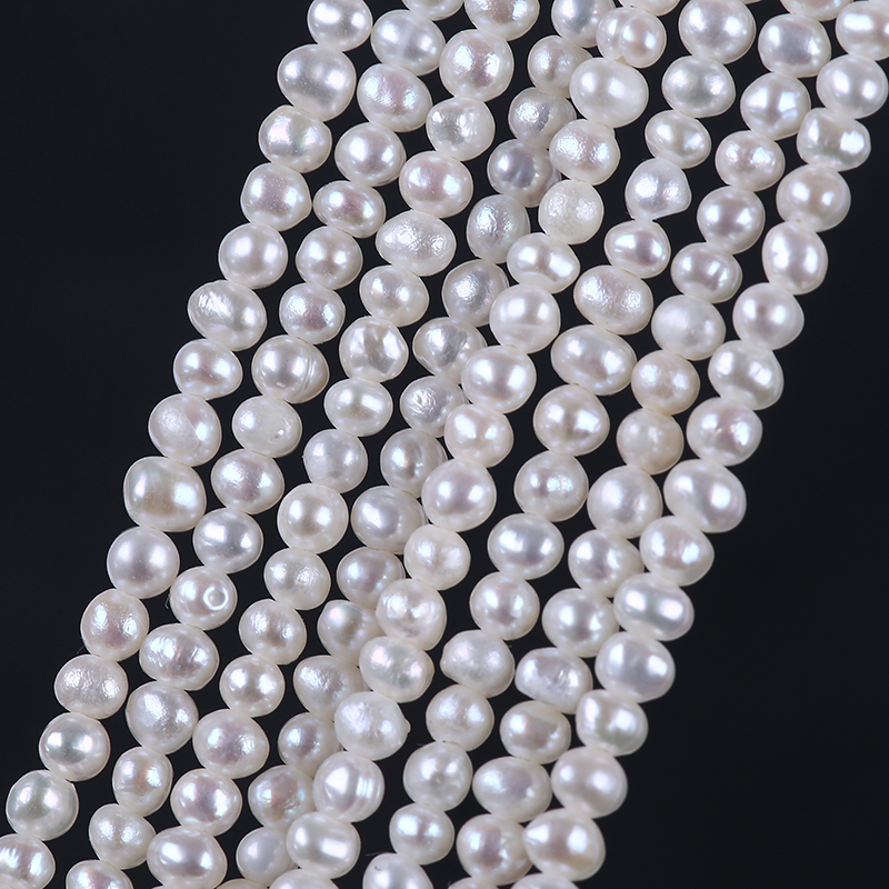 Small 2.8-3.2mm natural freshwater pearls tiny potato shape pearl strand
