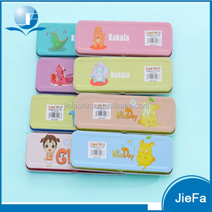 Custom full color printing high quality promotional tinplate metal pencil case