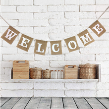 WELCOME HOME baby shower Hessian burlap Bunting Banner Vintage Rustic Wedding