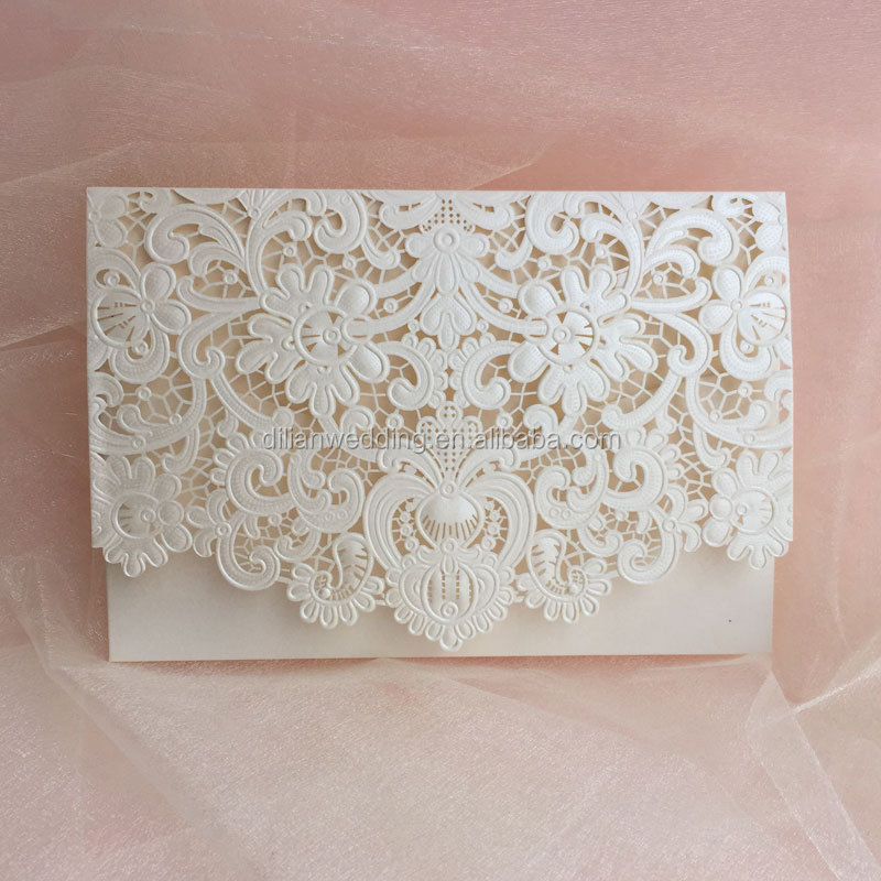 Pearl And Lace Wedding Invitations: Classic Ivory Pearl Light Paper Emobossing And Laser Cut