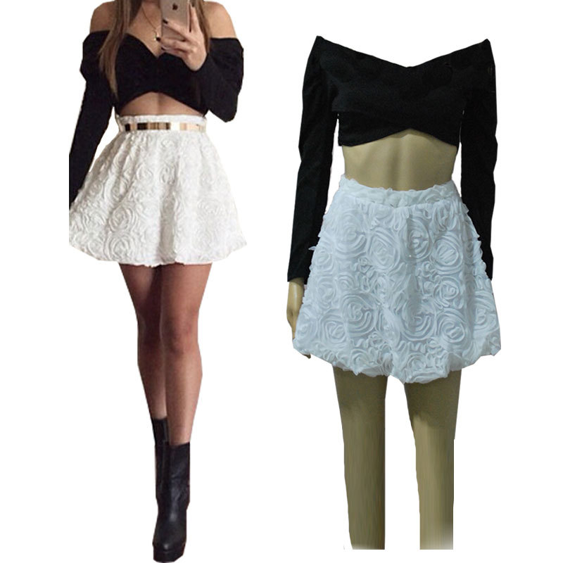 Buy Black Crop Top and White Skirt Set New 2015 Women Skirts Floral 2 Piece Skirt  Set Sexy Crop Jacquard Skirts Set Saias Hot 2687 in Cheap Price on ... a0aacde0f