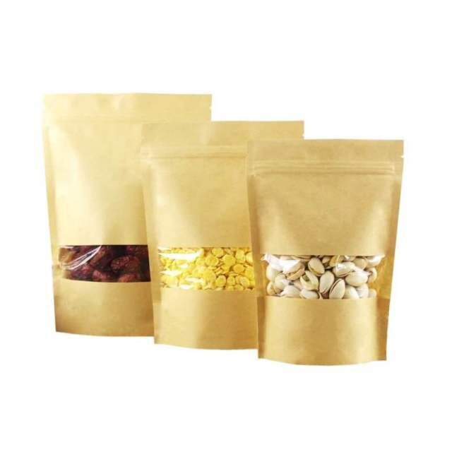 In stock zip lock kraft paper bags with clear window high quality