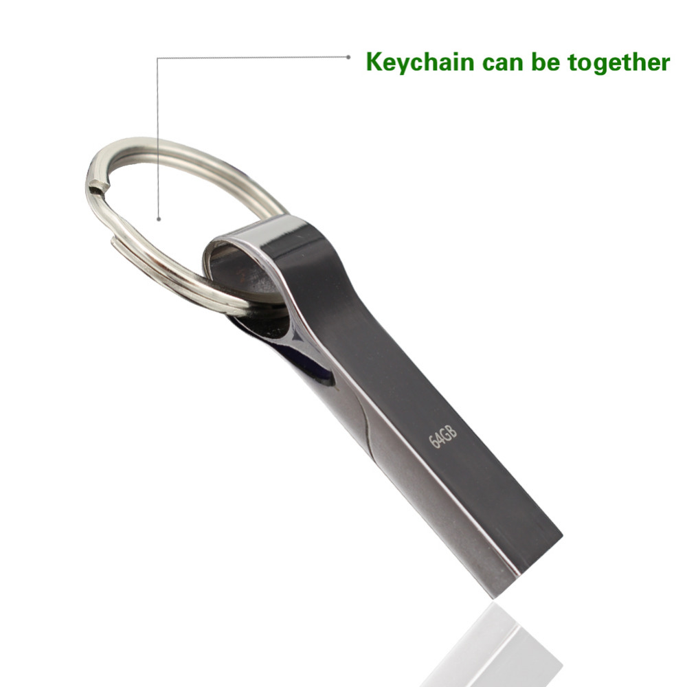 Waterproof Metal Silver usb flash drive pen drive 4gb, 8gb, 16gb,pendrive with key ring u disk memory disk usb 2.0