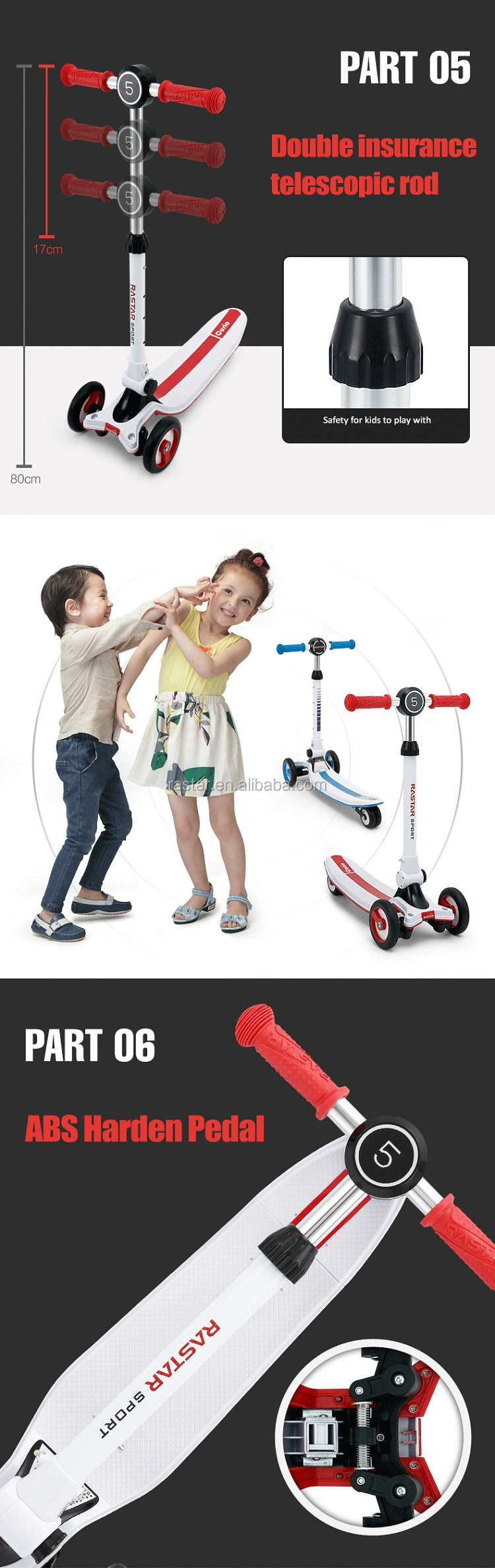 Rastar smart design with fancy lights three wheel stand up scooter for children