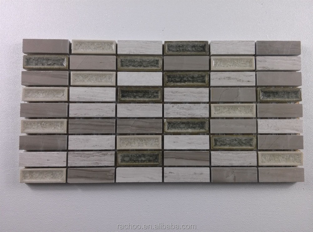 Kitchen backsplash marble mix crackle ceramic glass mosaic tile