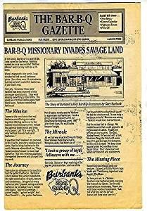 Burbank's Real Bar B Q Menu Dowlin Drive in Cincinnati Ohio 1980's