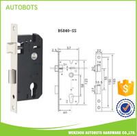 Classic style steel handle door lock bathroom door lock body