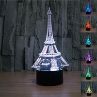 Eiffel Tower Birthday / Christmas / Valentine's Day Romantic Gift 3D Visual LED night light 7 Color Changing bedside lamp USB