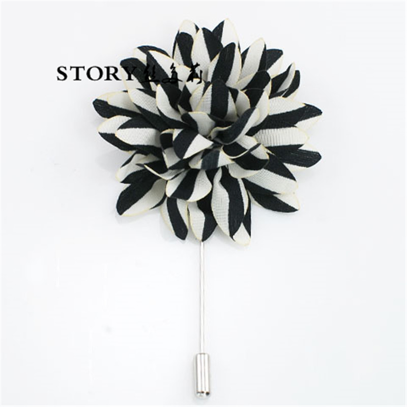 Korean European handmade men's fabric artificial zebra printed round lapel sunflower brooch pins for suits dress clothes