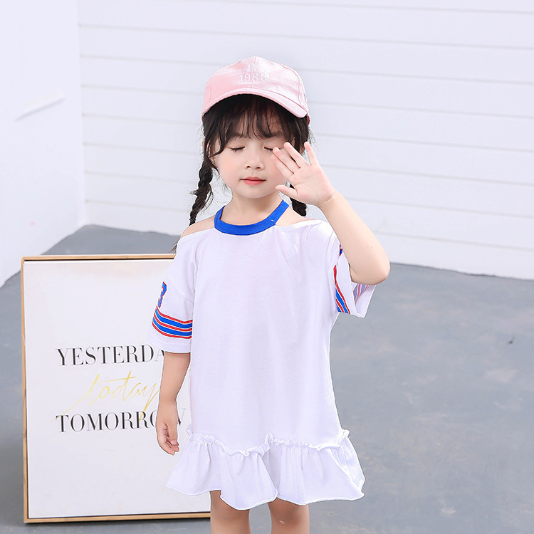 comfortable new design summer baby girls sports print alphabet casual dress korean style with reasonable price