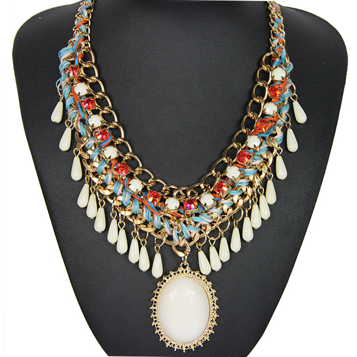 Multi colors gems bohemia style collar necklace for women jewelry wholesale