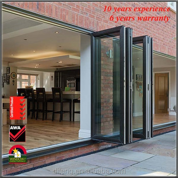 Soundproof Exterior Glass Aluminium Metal Accordion Doors With AS2047  Certificate Part 87