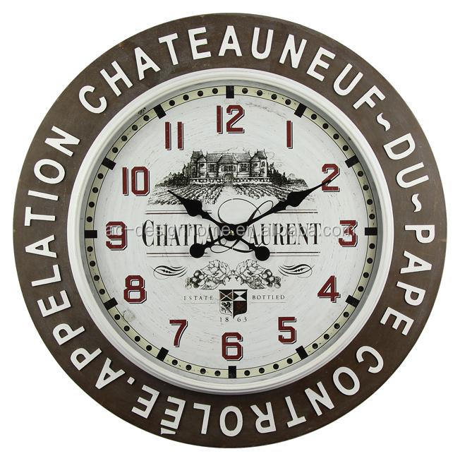 """CHATEA""IRON/GLASS/WOODEN WALL CLOCK"
