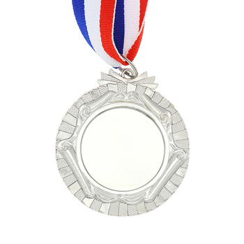 Metal cheap silver school blank medals with ribbon