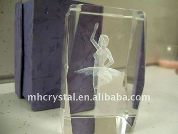 3d Etched Ballerina Glass Cube Paperweight Mh F0105 Buy