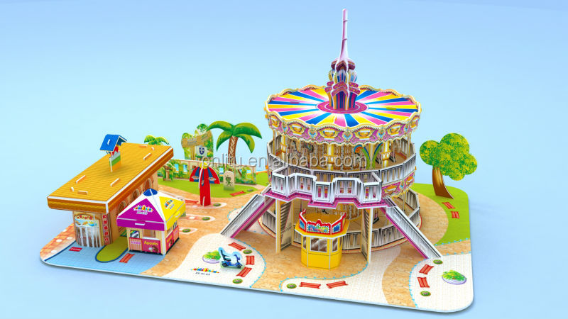 9531/HAPPY VALLEY 2-MERRY-GO-ROUND/PUZZLE TOYS 3D MODEL /ENTERTAINMENT GAME/PAPER AND PLASTIC FOAM PUZZLE/3D JIGSAW PUZZLE