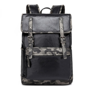 Fashion Waterproof PU Leather Travel Casual Backpacks Bag with Front Pockets