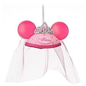 Disney Princess miniature mouse ear hat ORNAMENT topped with a dazzling Disney Princess tiara and tulle veil